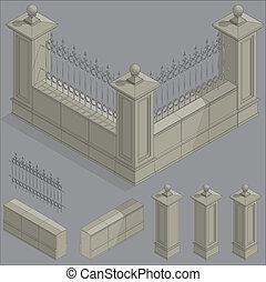 等大, フェンス, セット, キット, ベクトル, 建設