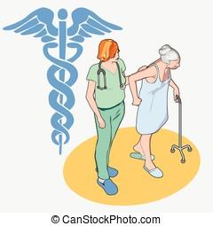 等大, ヘルスケア, 人々, セット, -, シニア, 患者, そして, 看護婦