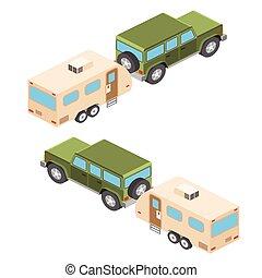等大, ベクトル, イラスト, の, 自動車, そして, 旅行, trailers., 夏, 旅行, 家族, 旅行, concept., ベクトル, illustration.