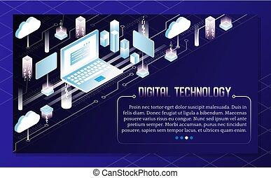 等大, ベクトル, 技術の 実例, デジタル