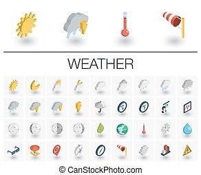 等大, ベクトル, icons., meteo, 天候, 3d