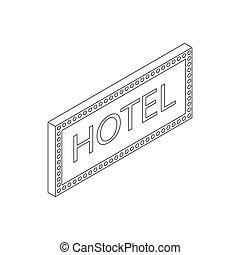 等大, ホテル, スタイル, 印, アイコン, 3d