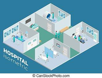 等大, ポスター, 病院, 内部, 医学, 光景