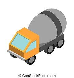 等大, 仕事, コンクリート, トラック輸送, スタイル, 修理, 建設, ミキサー, 平ら, アイコン, デザイン