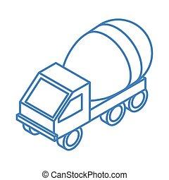 等大, 仕事, コンクリート, 輸送トラック, スタイル, 線である, 建設, ミキサー, 修理, アイコン, デザイン