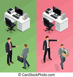 等大, 彼の, 発射される, オフィス, concept., イラスト, 仕事, ベクトル, 従業員, ビジネスマン, 雇われた
