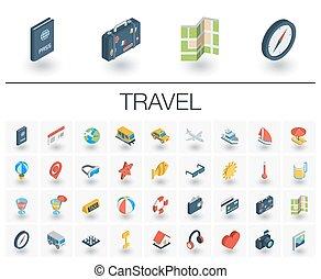 等大, 旅行, icons., ベクトル, 観光事業, 3d