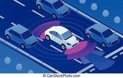 等大, 旗, driverless, 自動車, スタイル, 道