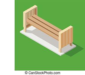 等大, 木製である, -, イラスト, ベンチ, ベクトル, 緑の背景