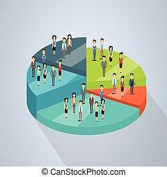 等大, 概念, グループ, 成功, ビジネス 人々, パイ, 図, チームワーク, 立ちなさい, 3d