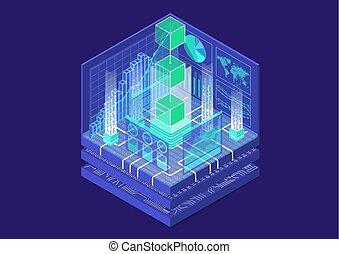 等大, 概念, ブロック, シンボル, blockchain, イラスト, ベクトル, 浮く, 3d