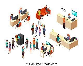 等大, 概念, 従業員, クライアント, 銀行業, ベクトル, サービス, 銀行, 3d