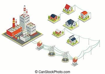 等大, 概念, 電気エネルギー, powerhouse, ベクトル, 分配, infographic., 3d