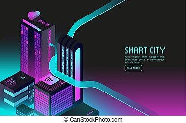 等大, 概念, city., 抽象的, 現実, 家, ベクトル, 建物。, 痛みなさい, 夜, augmented, 理性的, 未来派, 3d