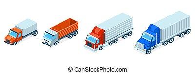 等大, 概念, lorries., トラック, 出荷, ベクトル, 3d