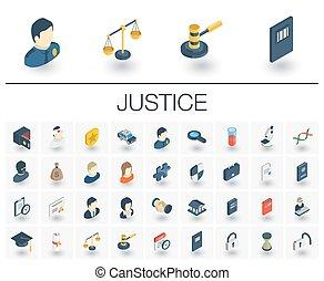 等大, 正義, icons., ベクトル, 法律, 3d
