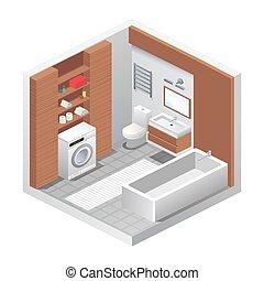 等大, 現実的, イラスト, ベクトル, 浴室