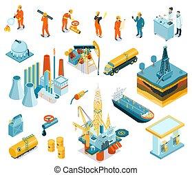 等大, 石油産業, セット, 労働者, アイコン