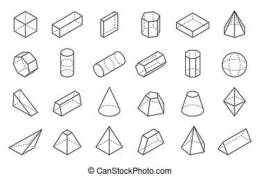 等大, 立方体, 線である, 形態, shapes., ピラミッド, シリンダー, ベクトル, コーン, 多角形, 幾何学的, 3d, objects., 最小である, 低い