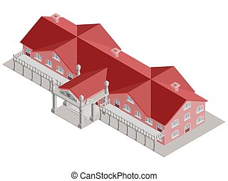 等大, 管理上, 赤い建物, ベクトル, 屋根