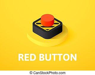 等大, 色, ボタン, 隔離された, 背景, アイコン, 赤