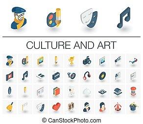 等大, 芸術, icons., 文化, ベクトル, 3d