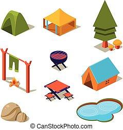 等大, 要素, キャンプ, デザイン, 森林, 風景, 3d
