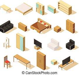 等大, 要素, セット, 家具