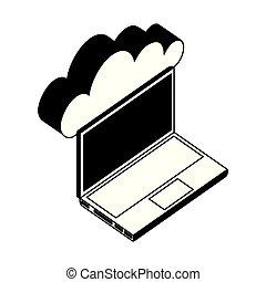 等大, 計算, ラップトップ・コンピュータ, 雲, アイコン