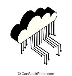 等大, 計算, 回路, 電子, 雲, アイコン