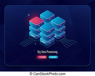 等大, 貯蔵, データベース, 大きい, 部屋, 処理, ネオン, サーバー, 暗い雲, 解決, ベクトル, データ, デジタル, アイコン, 要素, 技術, 抽象的, 未来派