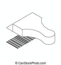 等大, 走査器, barcode, スタイル, アイコン, 3d