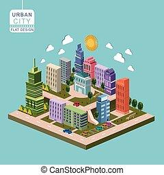 等大, 都市, infographic, 3d, 都市, 概念