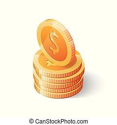 等大, 金貨, ドル, 隔離された, イラスト, バックグラウンド。, ベクトル, 白, 山