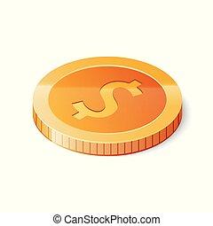 等大, 金, ドル, 隔離された, イラスト, バックグラウンド。, ベクトル, 白, コイン, アイコン