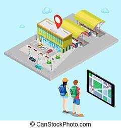 等大, city., 助け, モビール, tablet., 探索, イラスト, ベクトル, バス停留所, ナビゲーション, 観光客