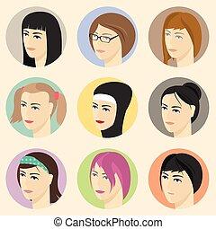 等大, faces., 女性