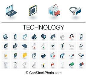 等大, icons., ベクトル, デジタルの技術, 3d