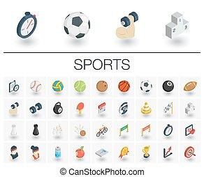 等大, icons., ベクトル, フィットネス, スポーツ, 3d