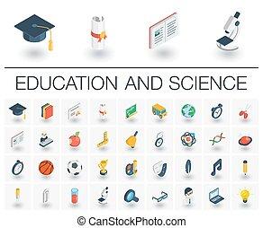 等大, icons., ベクトル, 勉強, 教育, 3d