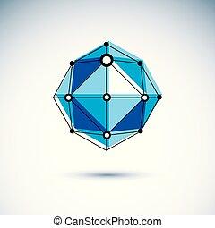 等大, illustration., 建設, 抽象的, poly, ベクトル, 低い, 革新, 技術, logo.