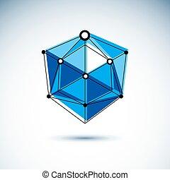 等大, illustration., 科学, 産業, poly, 形, 主題, ベクトル, 低い, デジタル, 建設, logo., 抽象的