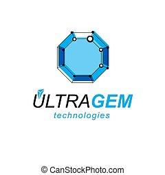 等大, illustration., logotype., 科学, 抽象的, poly, 形, 主題, ベクトル, 低い, デジタル, 新しい技術