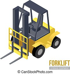 等大, machine., 貯蔵, equipment., forklift., ベクトル, 倉庫