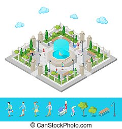等大, park., 都市, park., 活動的, 人々, outdoors., ベクトル, イラスト