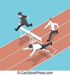 等大, race., 動くこと, 障害, ハードル, ビジネスマン