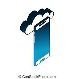 等大, smartphone, 計算, 装置, 雲, アイコン