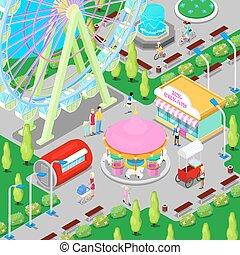 等容线, 游乐园, 带, 圆盘传送带, ferris轮子, 同时,, children., 矢量, 描述