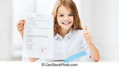 等級, テスト, 学校, 女の子