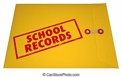 等級, 大学, transcripts, レコード, 学校学生, ファイル, 教育, 3d